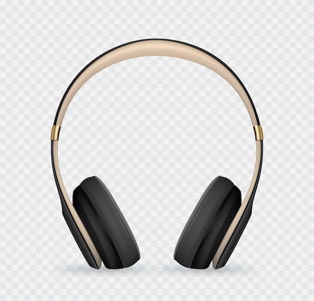 Vector realistic black headphone.