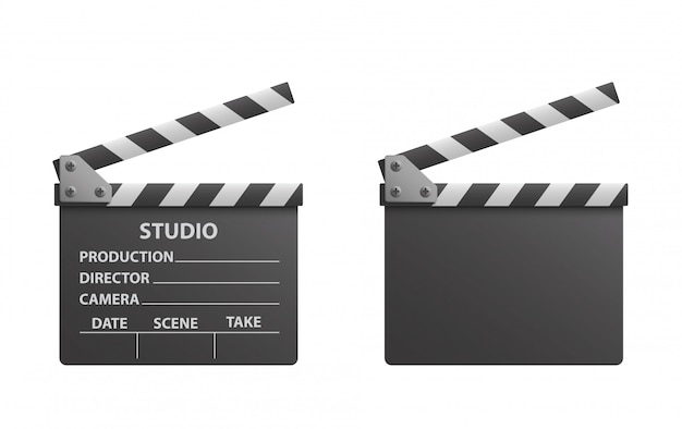 Vector realistic of black open clapperboard or clapper