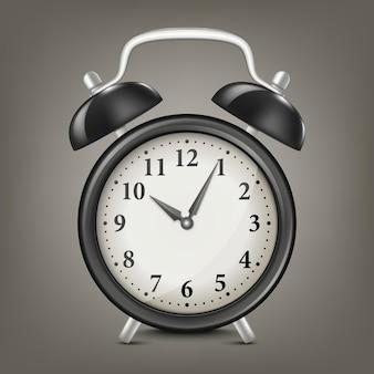 Вектор реалистичные черный ретро будильник. шаблон дизайна, иллюстрация eps10.