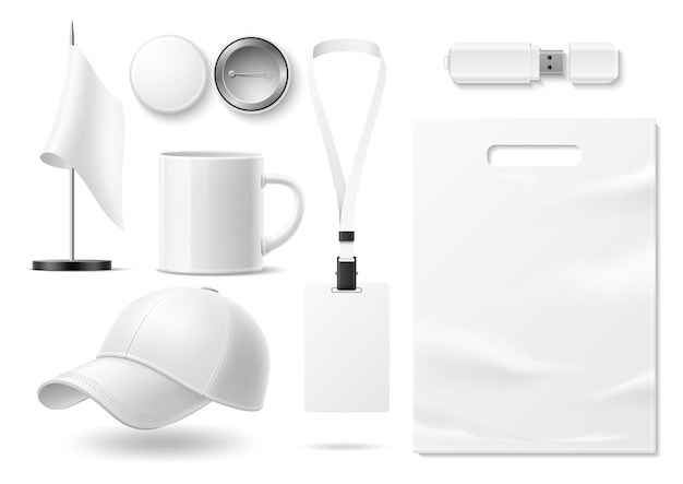 Vector realistic blank merchandise for branding and corporate design mockup set