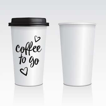 Vector realistic blank mock up paper cups with plastic lid.