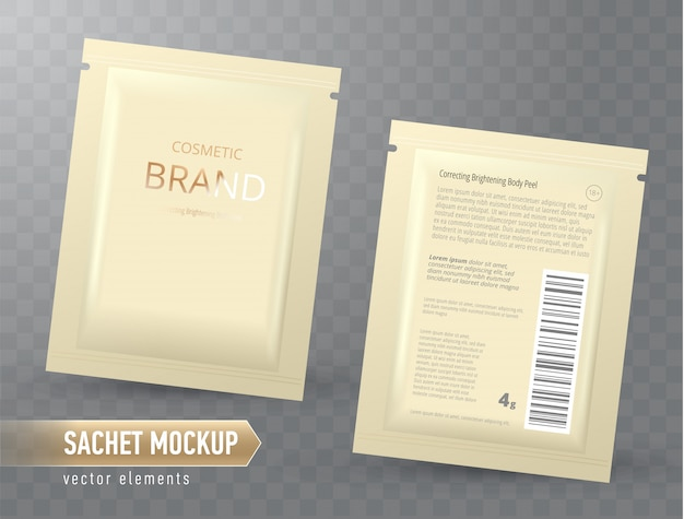 ベクトル現実的な空のパッケージ、フェイシャルマスクまたはシャンプー、使い捨て箔袋の分離。フェイスケア・スキンケア用化粧品。