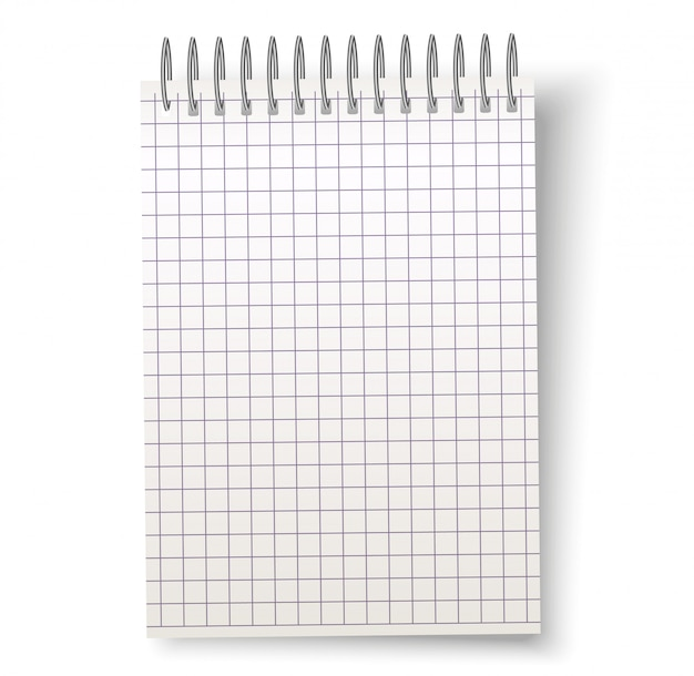 Vector realistic blank spiral notebook with square