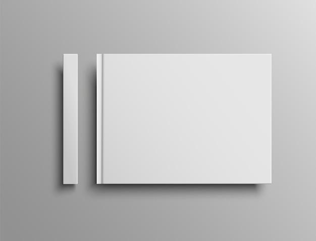 ベクトルの現実的な本の表紙と背骨のモックアップ、風景のハードカバー。プレゼンテーションデザインのテンプレート。