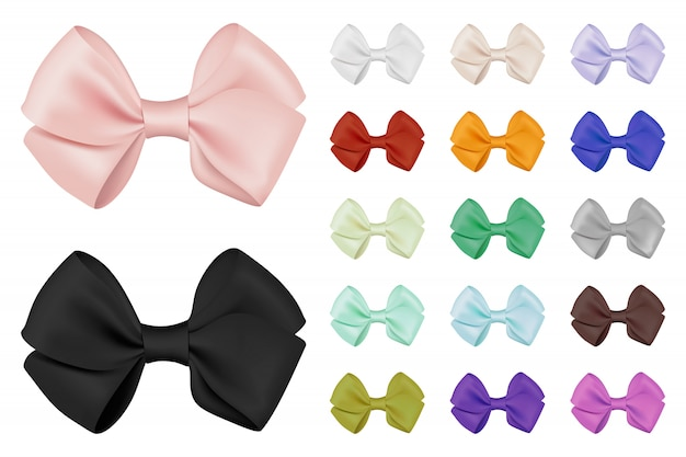 Vector realistic bow set. template for design.