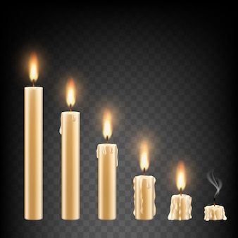 Vector realistic burning candle set