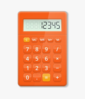 Vector realistic calculator. button electronic, digit calculation, display minus and plus illustration