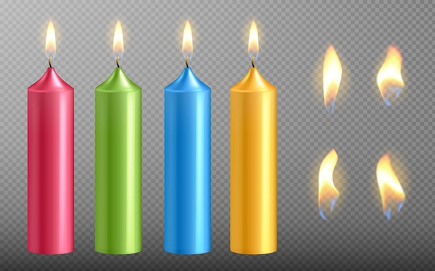 Vector realistic candle set with fire for birthday cake burning candlelight icons