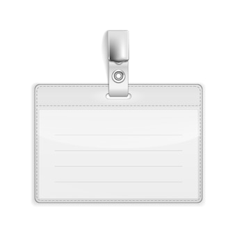 白で隔離されるベクトルの現実的なカード名またはidホルダー