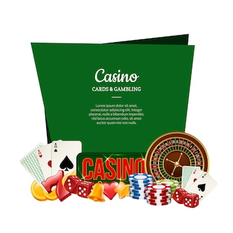 Vector realistic casino gamble with place for text illustration