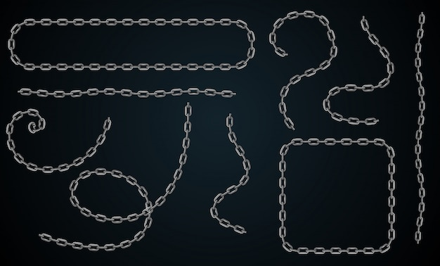 Vector realistic chain set. set for creating frames, dividers with corners and ends and shadow isolated on black background