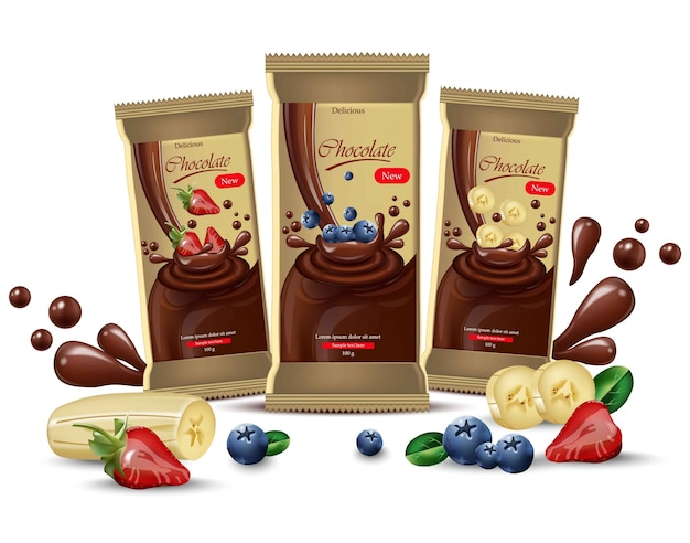 Vector realistic chocolates mock up. product packaging label design. blueberry, strawberry