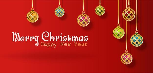 벡터 현실적인 크리스마스와 새 해 배경 배너 전단지 인사말 카드 엽서 수평