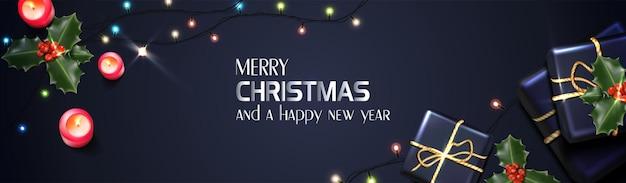 Вектор реалистичные рождество и новый год фон баннер флаер поздравительная открытка открытка горизонт