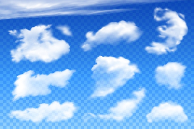 Vector realistic clouds on blue transparent