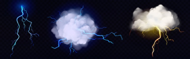 Vector realistic clouds with lightning bolts