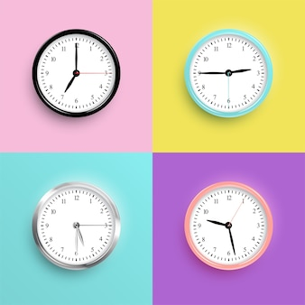 Vector realistic color clocks on different color backgrounds.