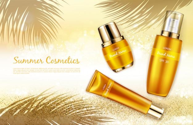 Vector il fondo cosmetico realistico, l'insegna di promo per i cosmetici dello spf dell'estate.