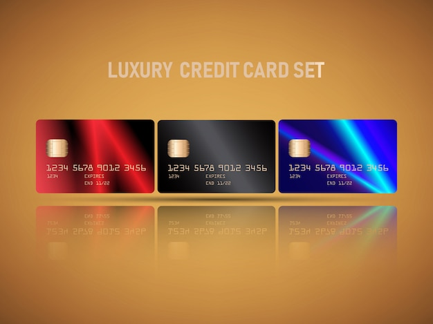 Vector realistic credit card set with luxury light flare red, blue colors abstract design