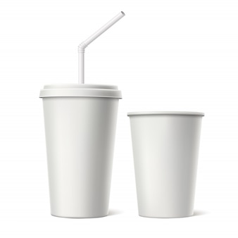 Vector  realistic disposable cup with lid straw mockup