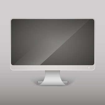 Vector realistic empty computer monitor, pc display isolated