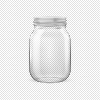 투명한 배경에 격리된 은빛 뚜껑이 닫혀 있는 통조림 및 보존을 위한 벡터 현실적인 빈 유리 항아리. 광고, 브랜딩, 모형을 위한 디자인 템플릿입니다. eps10 그림입니다.