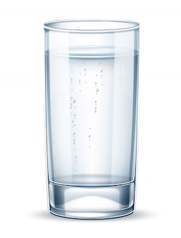 Vector realistic empty glass with sparkling water
