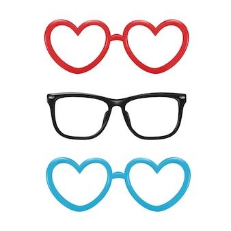 포토 부스 사진 소품 디자인을위한 벡터 현실적인 안경 심장 사각형 모양
