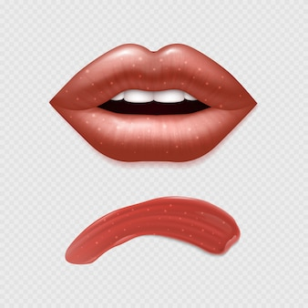 Vector realistic female lips and lipstick illustration