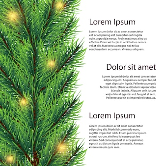 Vector realistic fir tree branch with lights illustration