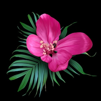 Vector realistic flower and palm leaves.