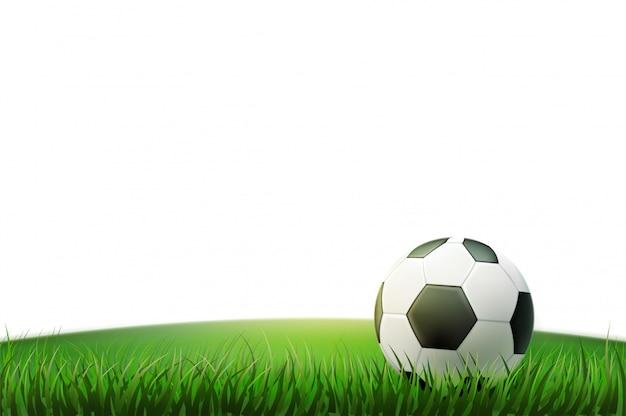 Вектор реалистичный футбольный мяч стадион трава