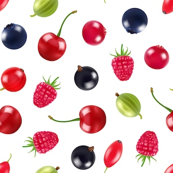 Vector realistic fruits and berries pattern or background illustration
