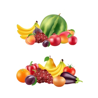 Vector realistic fruits and berries piles set isolated on white background illustration
