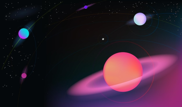 Vector realistic and futuristic space background with bright light planets and stars