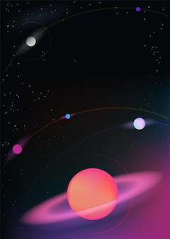 Vector realistic and futuristic space vertical background with bright light planets and stars