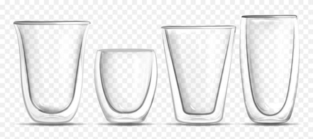 透明な背景にリアルなガラスの空のさまざまな形のカップをベクトルします。ホットドリンク、水、ジュース、バー飲料、アルコール用の3dガラス製品。ブランディング、広告、または製品デザインのテンプレート。