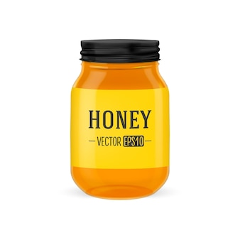 Vector realistic glass jar of honey with black lid closeup isolated on white background