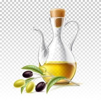 Вектор реалистичный стеклянный кувшин для масла первого отжима с веткой