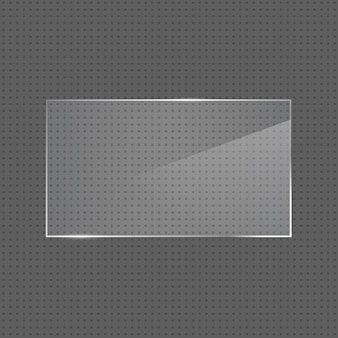 Vector realistic glossy rectangular glass frame