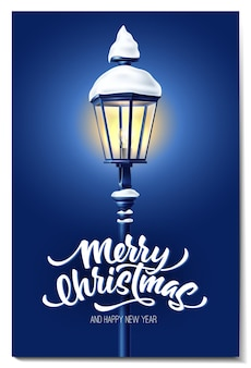 Vector realistic glowing streetlight at night with snowcaps for merry christmas