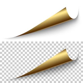 투명한 배경에 그림자가 있는 벡터 현실적인 황금 호일 코너입니다. 3d 페이지 모서리가 말렸습니다. 종이의 빈 시트입니다. 디자인 요소입니다.