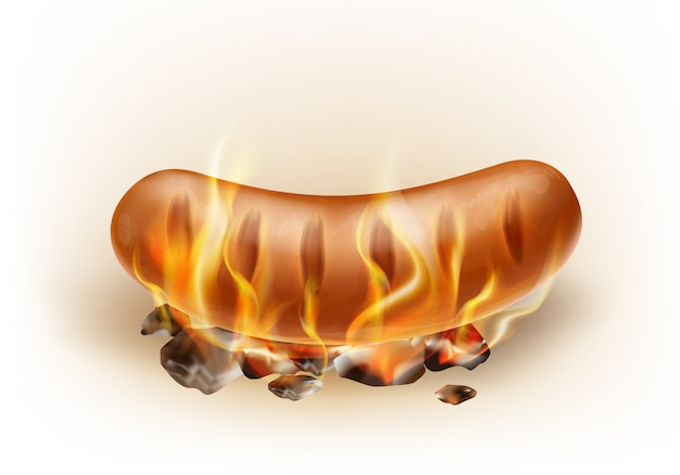 Vector realistic grilled sausage roasted on coals and fire