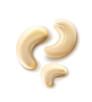 Вектор реалистичные горсть орехов кешью крупным планом вид сверху, изолированные на белом фоне