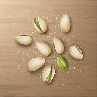 Вектор реалистичные горсть целых и треснувших фисташковых орехов с видом сверху соли, изолированные на деревянном столе