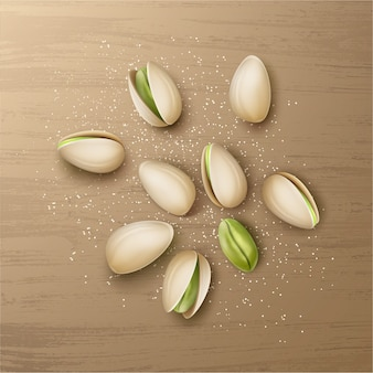 Vector realistic handful of whole and cracked pistachio nuts with salt top view isolated on wooden table