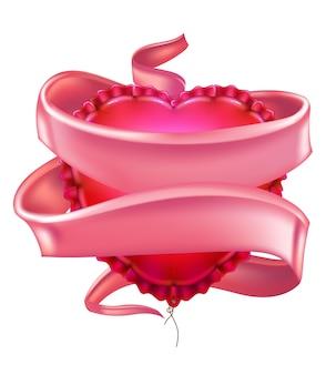 Вектор реалистичные в форме сердца воздушный шар элегантная розовая шелковая атласная лента