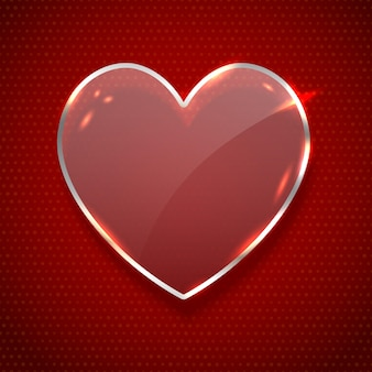 Vector realistic heart shaped glass banner isolated on dark red background. concept of happy valentines day.