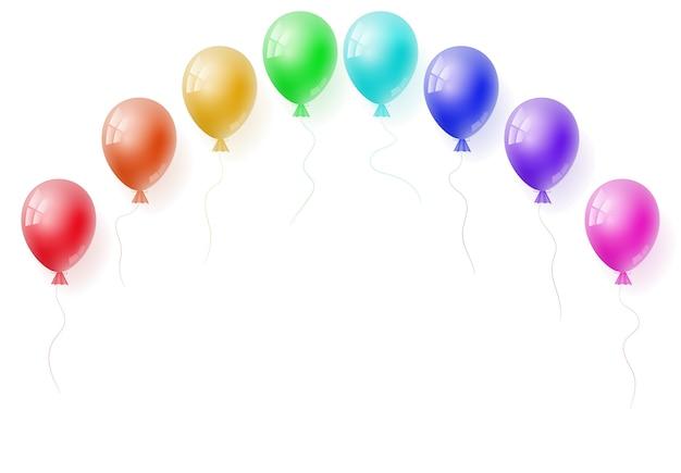 Vector realistic helium colorful rainbow balloons