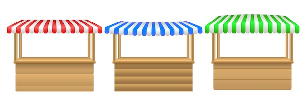 Vector realistic illustration of empty market stall with red and white striped awning isolated